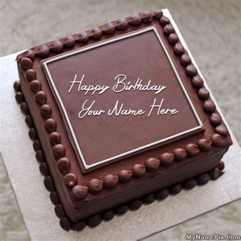 write   elegant square cake happy birthday cake