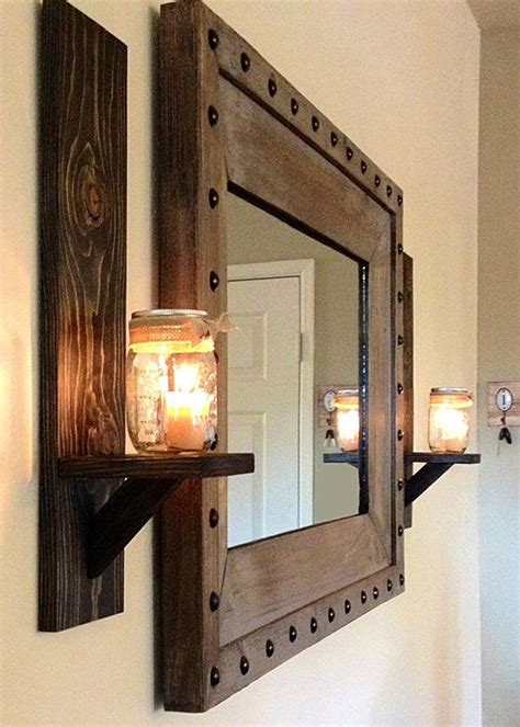 Rustic Candle Wall Sconces rustic wall sconces and rustic studded frame mirror westernhome house dreams