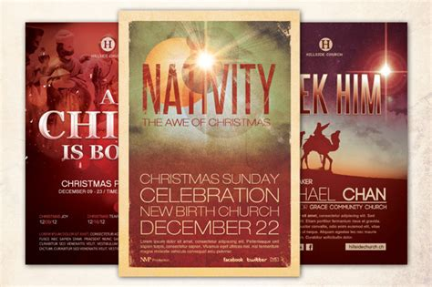 Christmas Church Flyer Bundle Flyer Templates On Creative Market Nativity Flyer Template