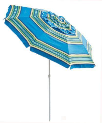 Bayside21   7' Tilt Beach Patio Umbrella Blue Stripe