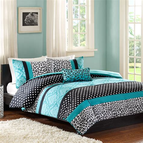 teal black and white bedding black and white leopard teal accent bedding