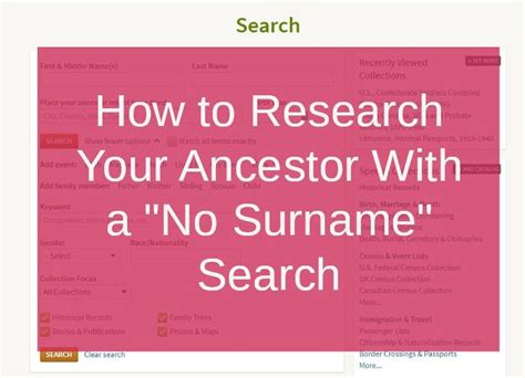 Search Without Last Name Surname Search P 229 Genealogi Och Ancestry