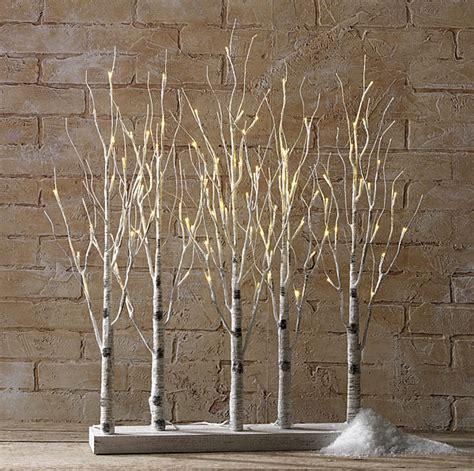 christmas light decorations indoor birch bark branches
