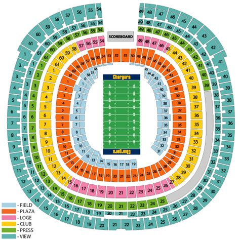 san diego charger seating chart chargers stadium seating