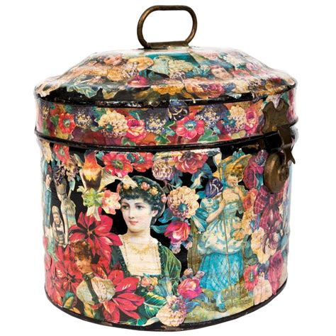 decoupage boxes for sale decoupage tole hat box at 1stdibs