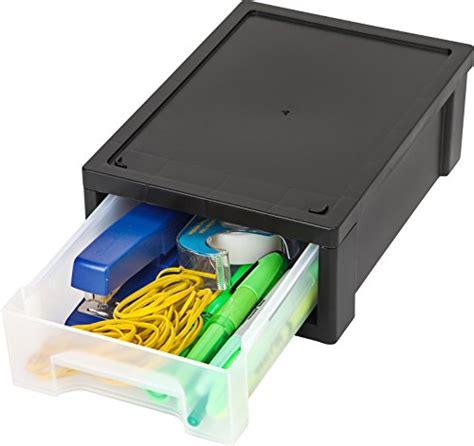 iris 6 desktop stacking drawer small black clear