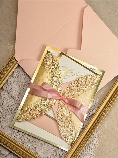 peach and gold art deco invitations 20 wedding peach gold invitation
