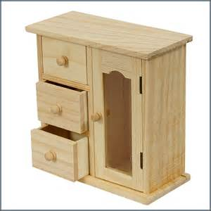 unfinished wood decorable diy jewellery box with 3 drawers