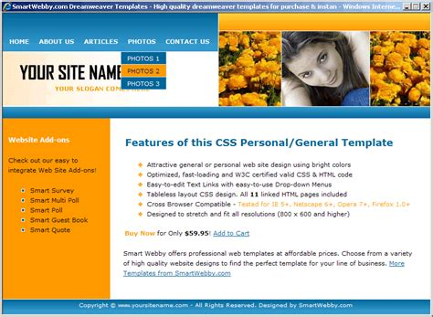 Attractive Css Template Personal Website Template Html Css