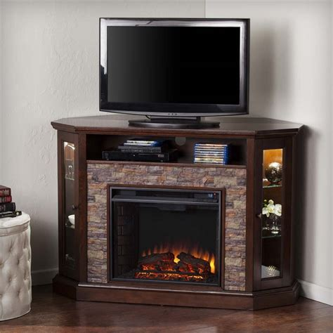 Corner Electric Fireplace Tv Stand Southern Enterprises Redden Corner Electric Fireplace Tv Stand Fe9392 Cymax Stores
