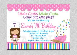 cooking birthday party invitation cooking by