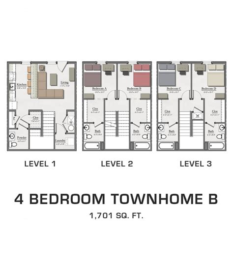 townhome floor plan 4 bedroom townhome b hannah lofts and townhomes