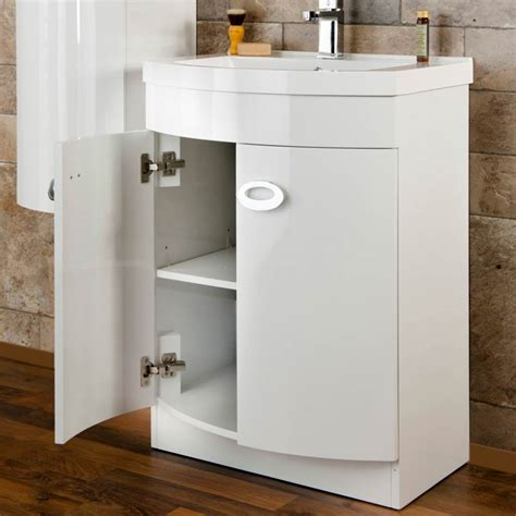 Curved Vanity Unit by Modern Curved White Gloss Vanity Unit With Side