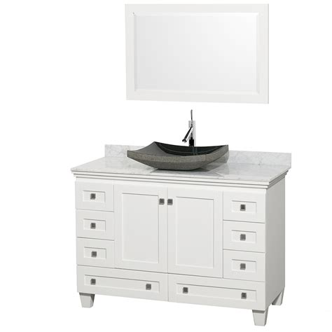 48 Inch Bathroom Vanity White Wyndham Collection Wcv800048swhcmgs1m24 Acclaim 48 Inch Single Bathroom Vanity In White White