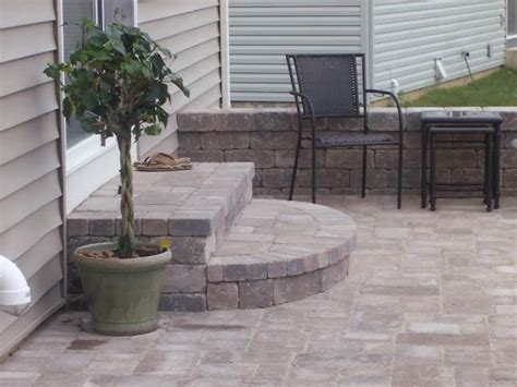paver patio stairs backyard paradise