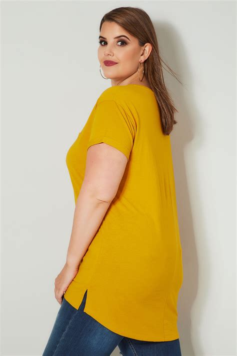 yellow light delivery service mustard yellow mock pocket t shirt with curved hem plus