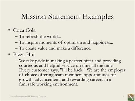 exle of mission statement lesson 1 vision and mission statements