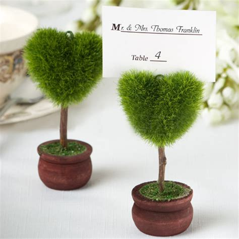 Bonsai Wedding Giveaways - heart shaped green bonsai place card holder country wedding favors ewfu012 as low as