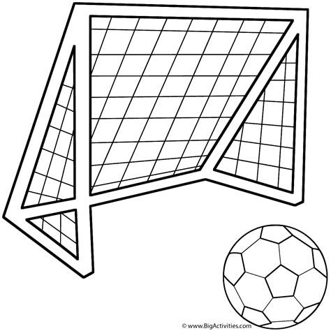 soccer ball with a soccer net coloring page father s day