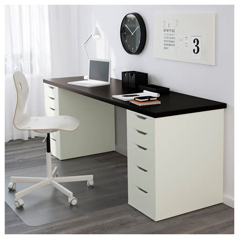 Small Desk With Drawers Ikea Alex Linnmon Table Black Brown White 200x60 Cm Ikea