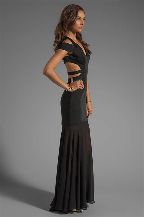 Wst 8969 Black Lace Cut Back Dress bcbgmaxazria cutout maxi dress in black in black lyst