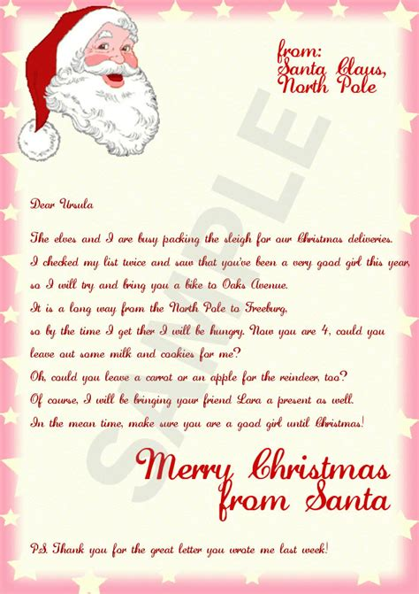 free letters from santa template letter from santa template cyberuse