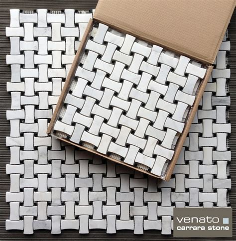 marble basketweave tile traditional bathroom 12 95sf carrara venato dogbone basketweave marble mosaic