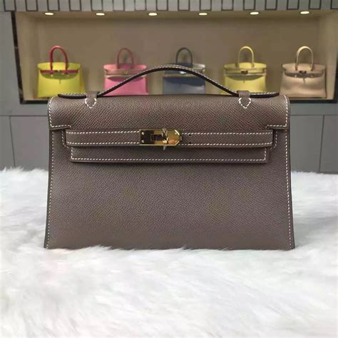 customised hermes etoupe grey epsom leather mini