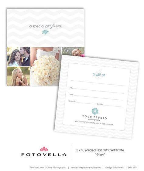 photographer gift certificate 5x5 photoshop template