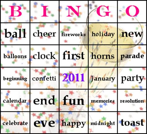 new year picture bingo new years bingo cards