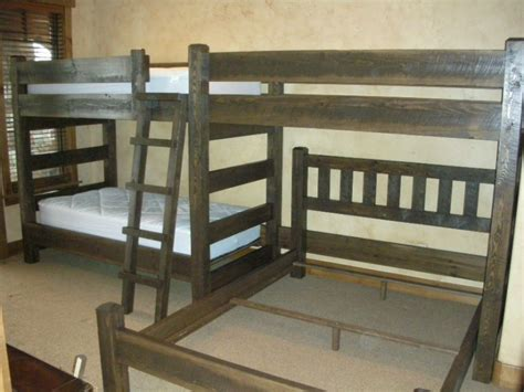 perpendicular bunk beds custom bunk beds cedar panel barnwood triple twin bunk bed