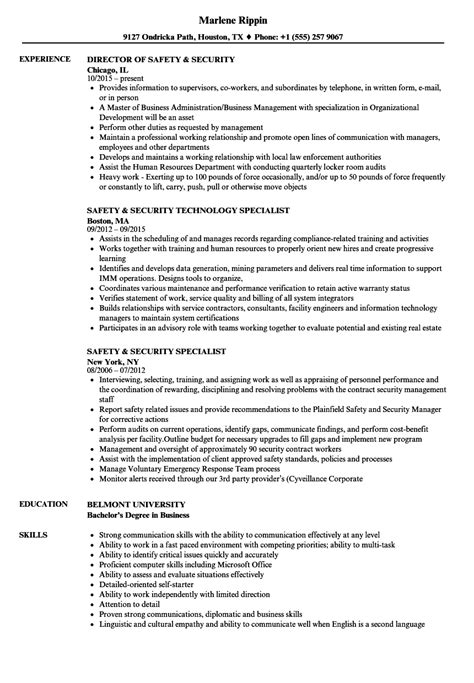 Safety And Occupational Health Specialist Sle Resume by Safety And Occupational Health Specialist Sle Resume Resume Sle Free