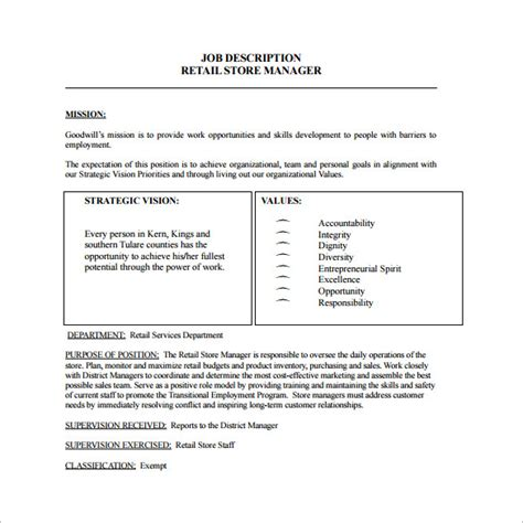 store manager description template 8 free word pdf