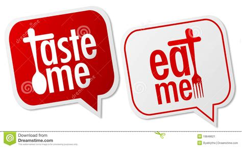 Me Me Me Me Me Me Me - taste me eat me labels stock vector illustration of
