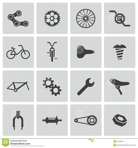 Gear Sss Set Athlet 1439 vector black bicycle part icons stock illustration