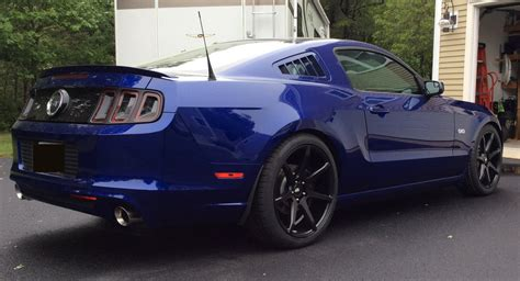 2014 mustang gt rims 20 inch staggered black di forza bm 10 matte black on 2014