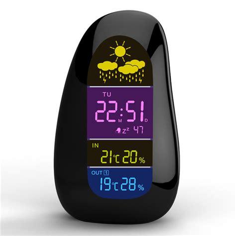 wireless weather station clock pebble led alarm clock wireless weather report at banggood