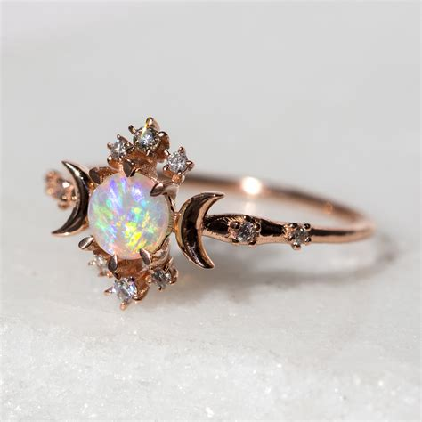 Wedding Rings With Opal by Wandering Ring Opal Catbird