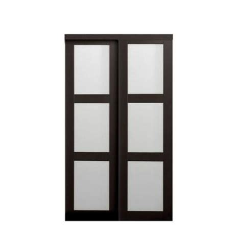 Frosted Glass Closet Sliding Doors Truporte Grand 60 In X 80 In 2290 Series Composite Espresso 3 Lite Tempered Frosted Glass
