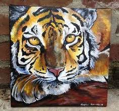 paint with a twist auburn tiger upclose orginal acrylic painting by