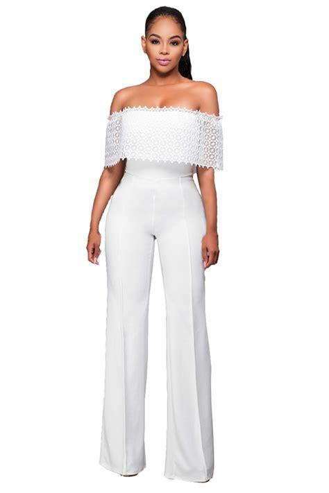 Baju Jumpsuit Wanita Import White Halter Stripe Size L 301371 womens shoulder high waist plain palazzo jumpsuit white pink