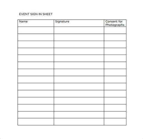 sample event sign  sheet  documents   word