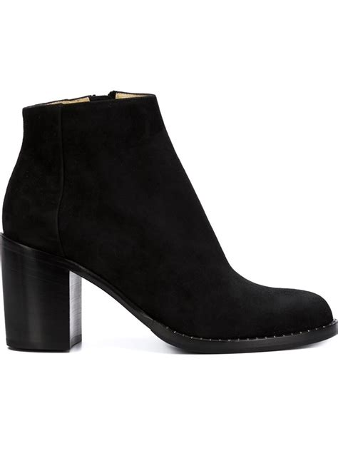 chunky ankle boots lyst paul andrew chunky heel ankle boots in black