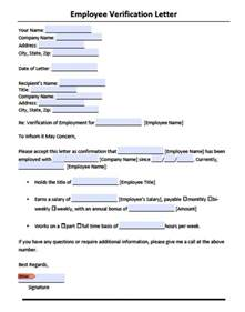 Employment Verification Template by Employment Verification Letter Sle Pdf Cover Letter