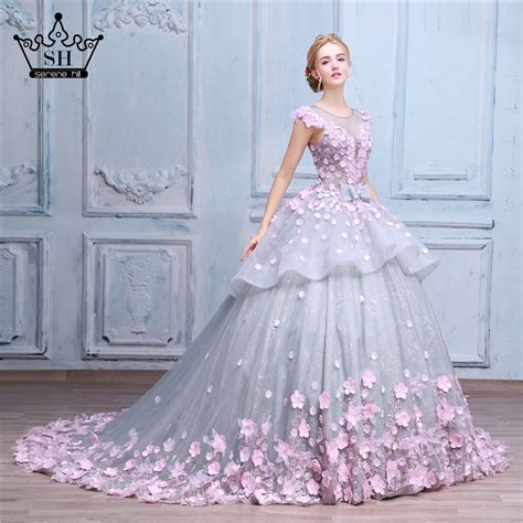 pink flower gown wedding dress bridal dress robe de mariage mariee princesa wedding dresses