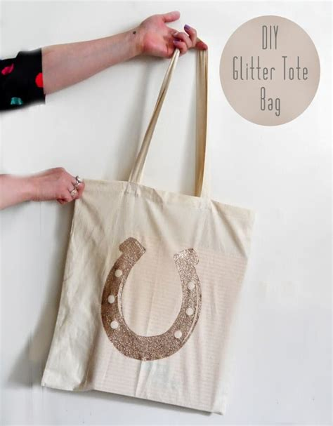 diy glitter tote bag with free horseshoe print out