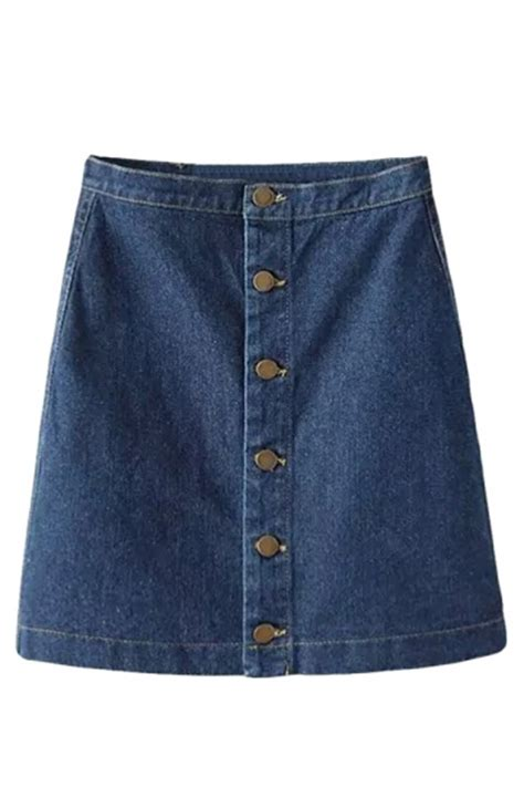 navy blue fashion plain high waisted denim skirt pink