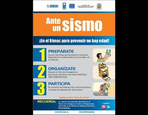 afiches de un sismo material de difusi 243 n instituto nacional de defensa civil