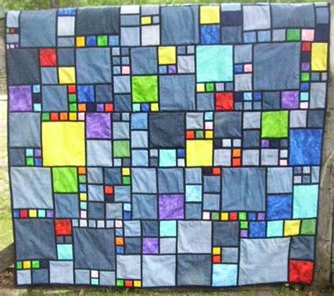 stained glass denim quilt is done sewing discussion topic