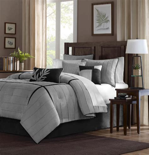 dark gray bedding beautiful 7pc modern elegant grey black modern comforter